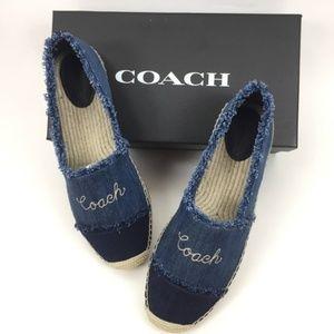 Coach Size 9B Celine Denim Espadrille Shoes